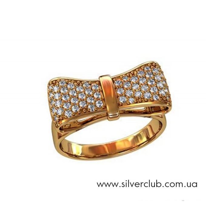 Золотое кольцо бантик