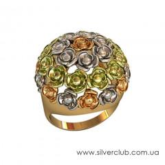Кольцо в виде цветка золото